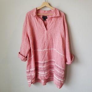 Tahari 100% Linen Red Roll Tab Sleeve Tunic Blouse